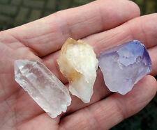 3 x CRYSTAL POINTS 1 x CITRINE 1 x QUARTZ 1 x AMETHYST  30mm - 35mm BAG ID CARD