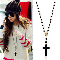 Fashion Mens Womens Black Rosary Bead Long Sweater Cross Pendant Necklace