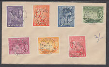 Seychelles Sc 157-163 on 1952 unaddressed envelope, first 7 KGVI values