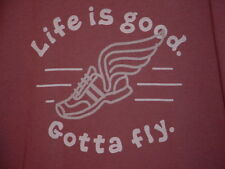 """LIFE IS GOOD """"GOTTA FLY"""" BORN TO RUN RUNNING T SHIRT WINGS SHOES MEDIUM-LARGE"""