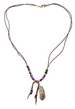 DELICATE TRIBAL INFLUENCED NECKLACE WITH COLOURED BEADS & METAL FEATHER  (NS4)