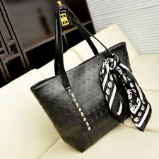 Gothic Skull Head Womens PU Leather Bag Shoulder Bags Handbag with Scarf Black