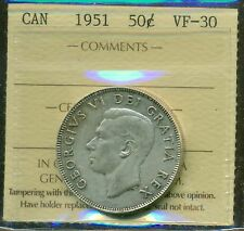 Canada 1951 Silver 50 cent Certified ICCS- VF-30