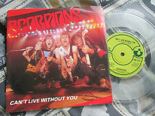 "Scorpions Can't Live Without You Harvest HAR 5221 TRANSPARENT UK 7"" Vinyl single"