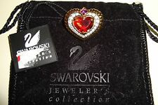 SIGNED SWAROVSKI SWAN CRYSTAL HEART CHUNKY PIN~BROOCH RETIRED RARE NEW TAG POUCH
