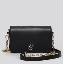 NWT TORY BURCH Robinson Chain Strap CROSSBODY In Black saffiano Leather +receipt