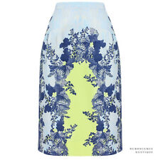 Erdem Grey Light Blue Acid Lemon Floral Pattern Aysha Pencil Skirt UK10 IT42