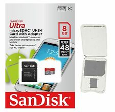 SanDisk 8GB Micro SD SDHC Class 10 48MBs microSD Flash Memory Card + CASE