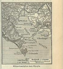 Carta geografica antica LA SPEZIA piccola pianta territorio 1890 Old antique map