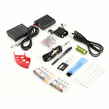 Tattoo Kit Pro Gun Machine Power Pedal 10 Color Ink Set Needle Grip Tip##L