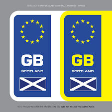 SKU1110 2 x Scottish Flag GB Euro Number Plate Stickers EU European Road Vinyl