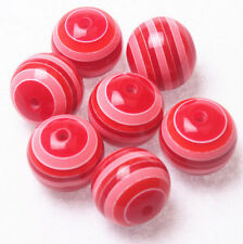 New 10PCS 20mm Resin Striped Beads for Pendant Charm Bracelet Necklace Jewelry