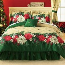 3Pc Twin Poinsettia Border Comforter Set Green Flower Floral Bedroom Decor