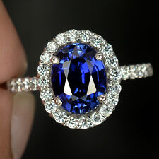 2.6 CT ROYAL BLUE SAPPHIRE OVAL FACET SILVER 925 COCKTAIL RING SIZE 7
