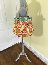 FOSSIL Waxed Canvas Tulips Flowers with  Key Shopper Tote Purse CUTE!