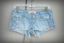 Hollister Size 1-4 Cut Wide Hot Mini Denim Short Shorts Embroidery Beads