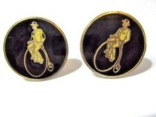 MAN RIDING OLD FASHION BICYCLE LARGE AND SMALL BACK WHEEL BIKE ENAMEL CUFFLINKS