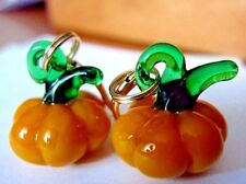 Halloween Thanksgiving Pumpkin Blown Glass Kirsten Earrings USA Made Gold LVRBKS