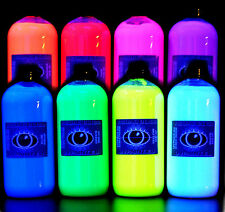 8x 500ml Ultra Bright Artists' UV Fluorescent Ultraviolet Blacklight Glow Paint