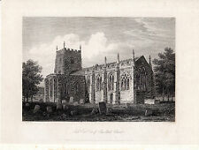 SOUTH EAST VIEW OF ROMALDKIRK CHURCH - TEESDALE - COPPERPLATE ENGRAVING (1820)