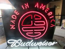 Budweiser Made In America Neon Beer Bar Sign GameRoom ManCave Budlight Bud Light