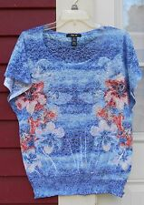 "Style & Co. Blue/Coral Floral Burnout Metallic Short Sleeve Top Medium 41"" MINT"