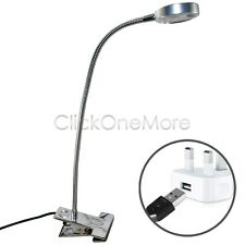 Silver LED Flexible Reading Light Clip-on Bed Table Desk Lamp Day White US