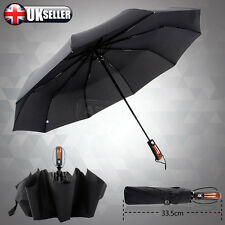 UK High Quality Strong Auto Open & Close Windproof Vented Men's Black Umbrella