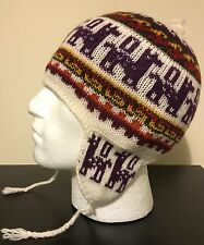 NEW  ALPACA WOOL SKI SNOWBOARD CHULLO, BEANIE PIXIE CAP HAT EAR FLAPS WHITE