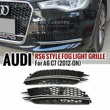 RS6 STYLE HONEYCOMB FRONT FOG LAMP COVER FOR AUDI A6 C7 2012-2014 LOWER BUMPER