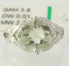 NEW Green Amethyst Cocktail Ring - 925 Sterling Silver Band Women's Diamonds
