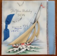 Vintage Early 1940's For Your Birthday SON Greeting Card