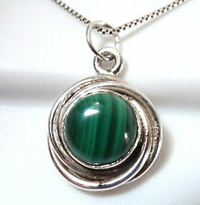 Small Malachite Cabochon 925 Sterling Silver Necklace with Swirled Border New