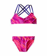 NEW* ROXY TRI BIKINI SWIMSUIT 2 PC $46 Retail GIRLS 8 Hot Pink Multicolor
