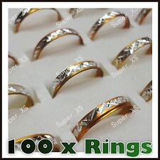 100 x WHOLESALE JOB LOT MENS WOMENS RING STAINLESS STEEL RINGS, MIXED SIZES