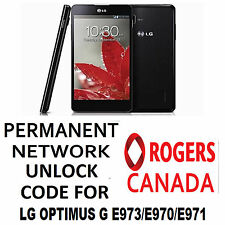 LG PERMANENT NETWORK  UNLOCK CODE FOR ROGERS  LG  OPTIMUS G E973 OR E971 OR E970