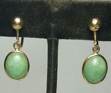 Green Jade Earrings 14k Yellow Gold Dangle Screw On Chinese Antique jadeite
