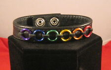 LGBT Leather Bracelet with Rainbow Rings