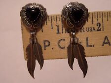 VINTAGE QT ONYX HEART STERLING FEATHER EARRINGS AND DELFT WINDMILL 835 EARRINGS