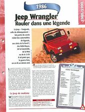 Jeep Wrangler 1986 USA Chrysler  Car Auto FICHE FRANCE