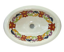 #082) SMALL 16x11.5 MEXICAN BATHROOM SINK CERAMIC DROP IN UNDERMOUNT BASIN