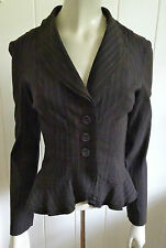 Cue gorgeous chocolate striped triple frill short jacket size 8 (US 4)