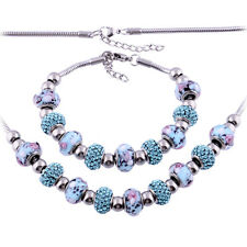 Stainless Steel Murano Glass Beads Jewelry Set Bracelet & Necklace Set