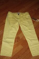 $188 Current Elliot The Skinny Boy Mellow Yellow Destroy Cropped Jeans Size 26
