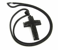 "Mens All Black Iced Out Cross Pendant Hip-Hop 36"" Inch Franco Necklace Chain K2"