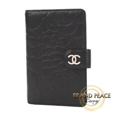 Chanel Camellia 2 fold wallet black silver metal Free Shipping