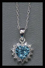 Sterling Silver Blue Topaz Heart Pendant - NEW