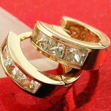 AN578 GENUINE REAL 18K ROSE G/F GOLD DIAMOND SIMULATED KIDS GIRLS HOOP EARRINGS