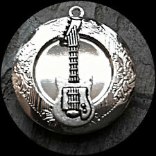 "Silver GUITAR PHOTO LOCKET sterling 18"" chain necklace MUSIC Band Instrument"