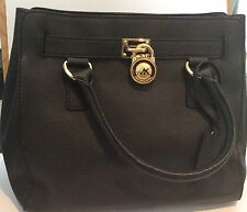 MICHAEL Michael Kors Black HAMILTON leather handbag with designer lock - new